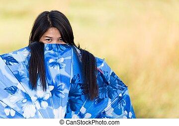 傘, 彼女, 上に, 若い, 遊び好きである, かいま見ること, 女の子