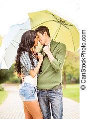 傘, 接吻, 下に