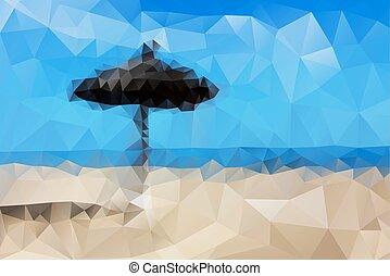 傘, 摘要, 沙子海, 海灘, 看法