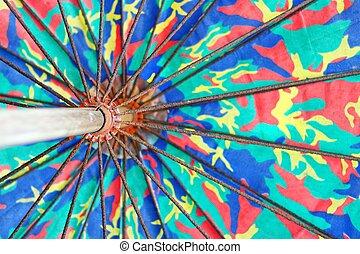 傘, 木製である, 大きい, 古い, ハンドル, ワイヤー