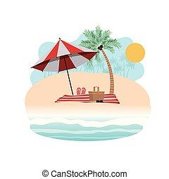 傘, 木, やし, シルエット, しまのある, 浜