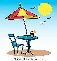 傘, 椅子, 浜, テーブル, ジュース