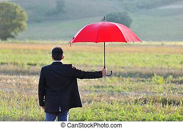 傘, 概念, フィールド, 保護, ビジネスマン, 保険