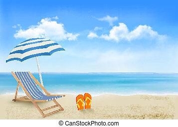 傘, 概念, 夏, flip-flops., 海岸, 休暇, バックグラウンド。, vector., 対, 椅子, 浜...