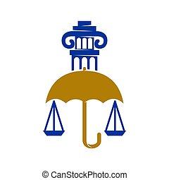 傘, 正義, デザイン, 隔離された, 会社, 法律, 柱, ロゴ, テンプレート