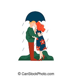 傘, 歩くこと, 女, ロマンチックな カップル, 雨, 若い, イラスト, ベクトル, 恋人, 人, 下に, 日付, 接吻, 幸せ, 包含