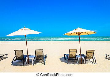 傘, 浜の 椅子