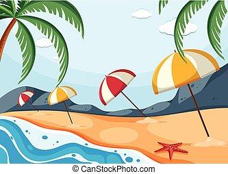 傘, 浜 場面, 背景