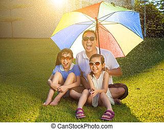 傘, 牧草地, カラフルである, モデル, 父, 娘