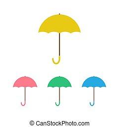 傘, 白, 隔離された, セット, ベクトル