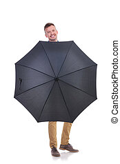 傘, 若い, の後ろ, 黒, 偶然, 人