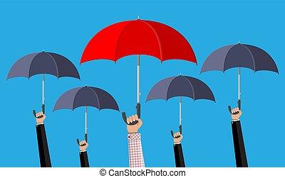 傘, 赤, 群集, 人