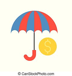 傘, 関係した, コイン, 財政, 銀行, アイコン