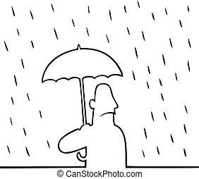 傘, 雨, 人