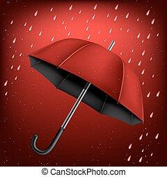 傘, 雨, 背景, 赤