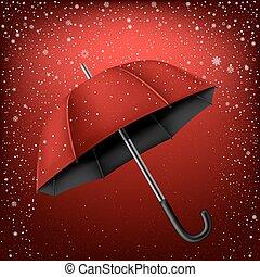 傘, 雪, 背景, 赤