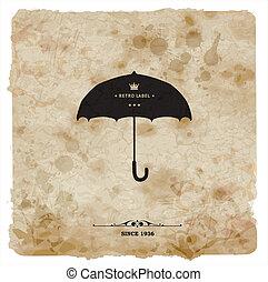 傘, postcard., 型, レトロ, 背景, グランジ