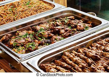 備辦, 自助餐, 亞洲 食物, 拿走, 盤