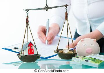 储蓄, 或者, 房产, 投资, 概念