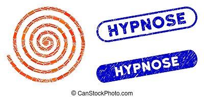 催眠状態, スタンプ, モザイク, hypnose, グランジ, 長方形