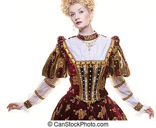 傲慢, 王后, 在, 皇家, 衣服, 被隔离, 在懷特上