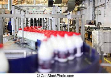 傳動機, 由于, 奶瓶子, 在, 部門, ......的, 大, factory;, 人們, 工作