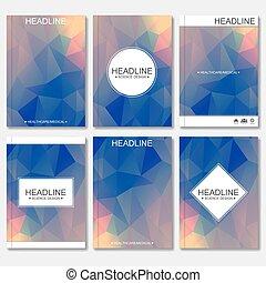 傳單, 雜志, 三角形, 鮮艷, 事務, 摘要, 現代, 布局, polygonal, 覆蓋, 矢量, 設計, 飛行物, 小冊子, 時髦, poster., template., 背景