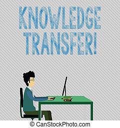 傳播, 分享, transfer., 知識, 工作, 坐, 正文, 顯示, 或者, 經驗, 簽署, 電腦, 書, 相片, 概念性, 商人, 椅子, 桌子。, 直接