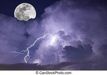 傳真照片, 圖像, ......的, a, 閃電, 罷工, 在期間, a, 夜晚, 風暴