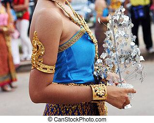 傳統, 明亮, 衣服, 泰國, 女性