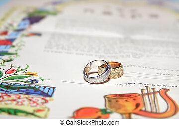 傳統, 簽署, 猶太, prenuptial 協議, ketubah., 婚禮, contract., 婚姻