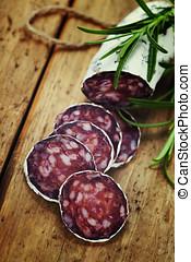 傳統, 香腸, 肉, 木制, 被切成薄片, 蒜味咸辣腸, 板
