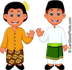 傳統, 馬來西亞, 夫婦, 服裝, 卡通