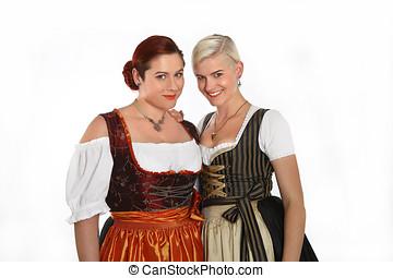 傳統,  Bavarian, 女孩, 服裝, 二