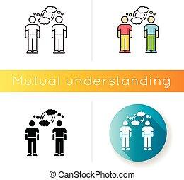 債券, 友人, icon., コミュニケーション, 接続, rgb, ベクトル, 理解, 隔離された, 相互, empathy., styles., 線である, 心理上である, 黒, 色, イラスト, interpersonal, friendship.