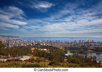 傷つけなさい, vina, del, valparaiso, チリ, 光景