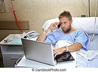 傷つけられる, 仕事, ビジネス, ベッド, 病気, 移動式 電話, 男コンピュータ, 病院, あること, 部屋, ...
