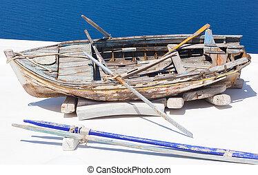 傷つけられる, 古い, withpaddles, ボート競技, ロープ, ボート