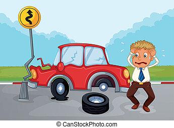 傷つけられる, 彼の, 自動車, 心配した, ∥横に∥, 人