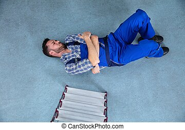 傷つけられる, handyman, あること, 床