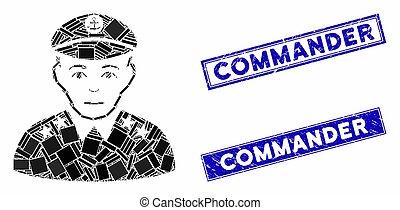傷付けられる, 大尉, 軍, 長方形, スタンプ, モザイク