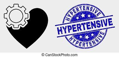 傷付けられる, 心, ギヤ, watermark, hypertensive, ベクトル, アイコン