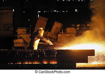 傷口, 金屬, 火炬, 工人, 透過, 使用, 刀具
