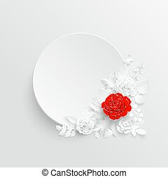傷口, rose., 框架, illustration., flowers., 白色, 矢量, 摘要, 輪
