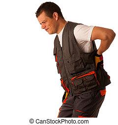 傷害, 上に, 仕事, -, 建築作業員, 苦しみ, 懸命に, 痛み, 中に, 彼の, 背中
