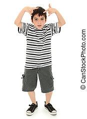 傻, 男孩, 做, 愚蠢, 臉, 以及, 手勢