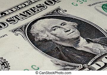 傾いた, マクロ, の, ジョージ・ワシントン, 上に, ∥, アメリカ人, 1 つの ドル札