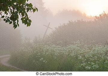 傾倒, 日の出, 十字の 道, 霧, 木, ∥間に∥, 高い, 古い, 田園, 草