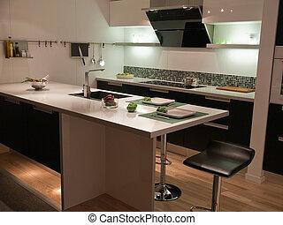 傾向, 現代, デザイン, 台所