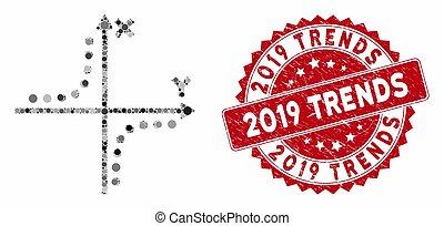 傾向, hyperbola, 2019, 切手, モザイク, 苦脳, プロット